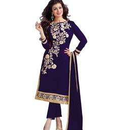 Navy blue embroidered chanderi salwar with dupatta