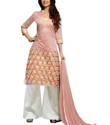 Buy Peach embroidered chanderi salwar with dupatta women-ethnic-wear online