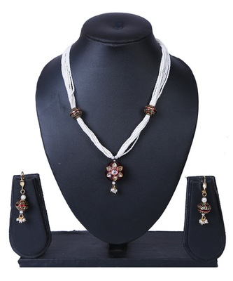Red Pearl Chains Kundan Meenakari Pendant Necklace Set TNS934