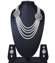 Silver Twin Pendant Five Layer Pearl Chain Necklace Set TNS940