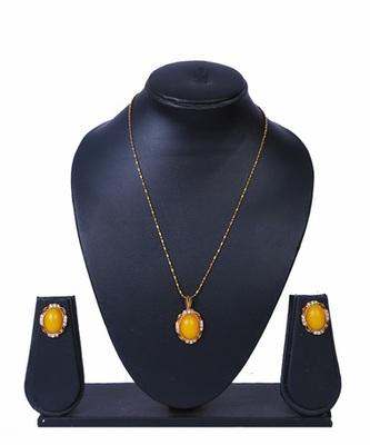 Yellow Stone Gold Chain Pendant Set MNS952