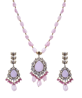 Light Pink Oxidized Gold Stones Crystal Beads Pendant Necklace Set WNS1038