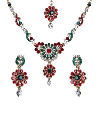 Red Green Gold Stone Studded Floral Necklace Set WMNS1019