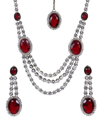Red Silver Gold Stone Studded Two Layer Designer Necklace Set WMNS1023