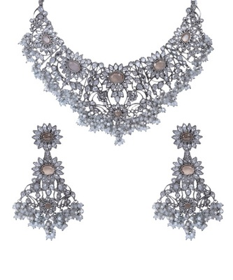 Light Yellow Silver Crystal Beads Designer Wedding Necklace Set WMNS1032