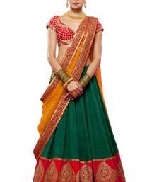 Buy Green embroidered silk unstitched lehenga with dupatta lehenga-choli online