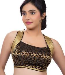 Buy Lovely Black Brocade Party-Wear Sari Blouse fabric sleeveless-blouse online
