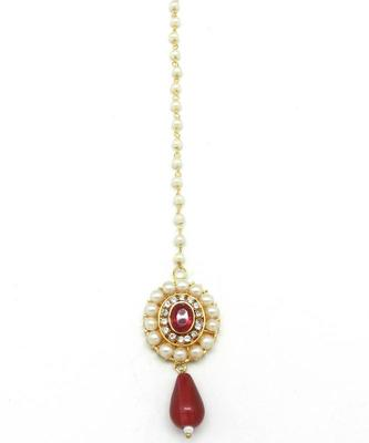Sober Maang Tikka Decorated With Crystal  and  Pearl