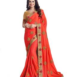 bd9e42b349222 66% OFF Buy Orange color embroidered silk semi stitched wedding saree with  blouse designer-embroidered-saree