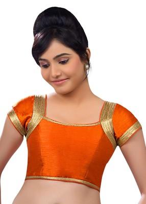 orange banglory plain unstitched blouse