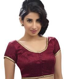 Buy maroon raw silk plain unstitched blouse blouse-fabric online