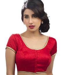 red raw silk plain unstitched blouse