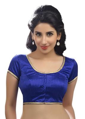 royal blue raw silk plain unstitched blouse