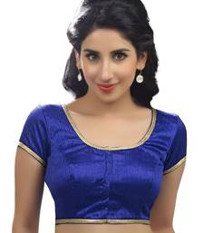 royal blue raw silk plain unstitched blouse