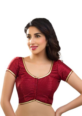 maroon banglory plain unstitched blouse
