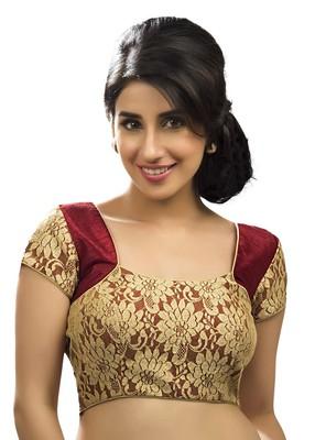 maroon banglory plain unstitched blouse