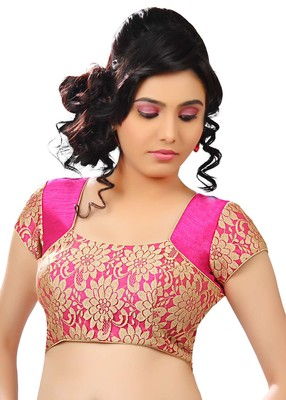 pink banglory plain unstitched blouse