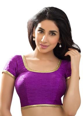 purple banglory plain unstitched blouse