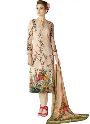 Multicolor Floral Print Cotton Salwar With Dupatta