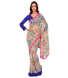 Buy Multi Printed Poly Georgette saree with blouse party-wear-saree online