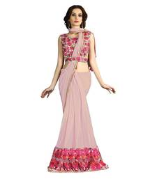 Buy Baby pink embroidered fancy fabric saree with blouse one-minute-saree online