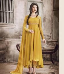 Buy Mustard embroidered georgette salwar wedding-season-sale online