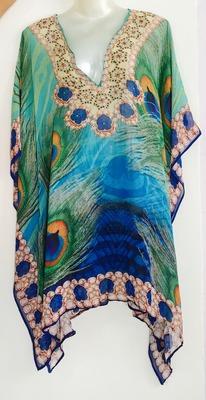 peacock blue Turquoise digital print georgette  kaftan kurti