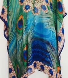 peacok blue Turquoise digital print lace up kaftan  georgette tunic kurti