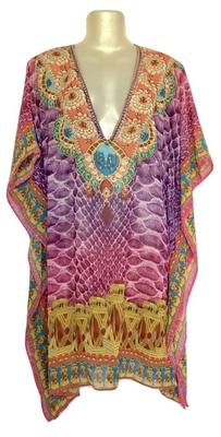 Purple Digital Print Kaftan Georgette Tunic Kurti
