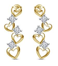 Buy Exclusive Offer On 925 Sterling Silver 14K Gold Plated Round CZ Stud 4 Heart Designed Earrings For Women & Girl stud online