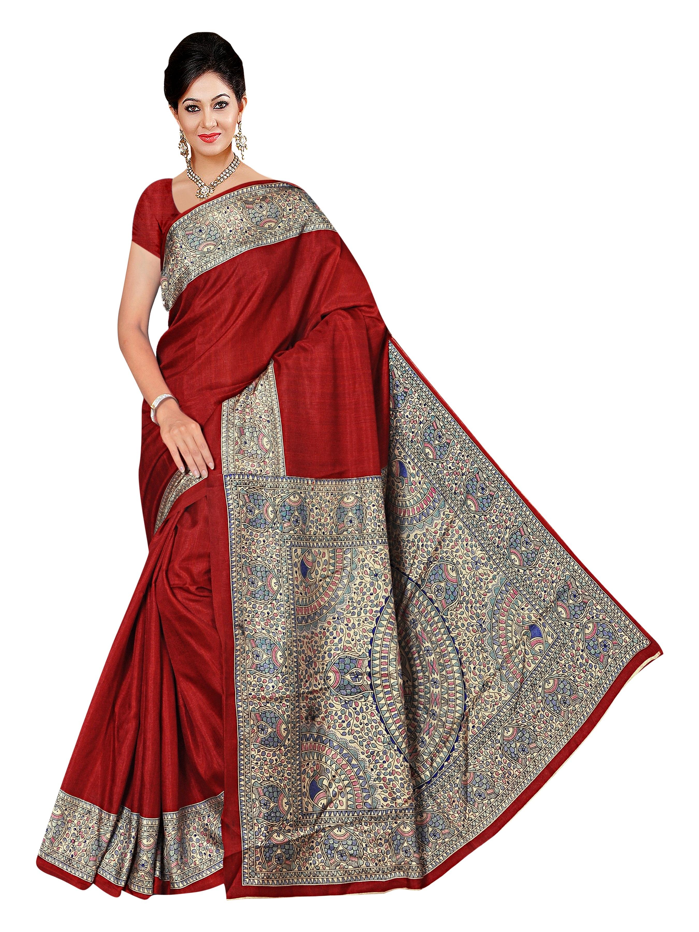 3e3f9049e286d Multicolor printed manipuri silk saree with blouse - Winza Designer -  2319988