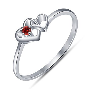 1faac31d54 925 Sterling Silver Love Heart Shape Ring In Red Garnet For Girls & Women's  - Lilu Jewels - 2320299