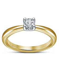 Buy Womens Solitaire Brilliant Round Simulated Diamond Engagement Ring 14k Gold Plated Ring online