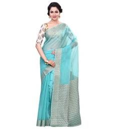 Sea green woven blended cotton saree with blouse hand-woven-saree