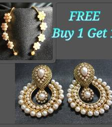 White Pearl Polki and free  Pearl kaan Earrings
