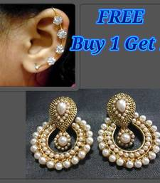 Buy 1 Get 1 free White Pearl Polki Earrings with kaan