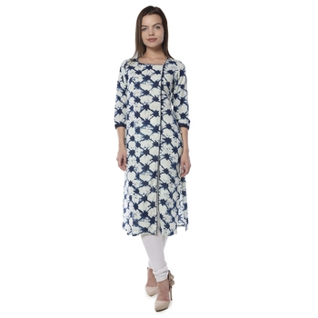 Dark blue printed cotton stithced kurtas-and-kurtis