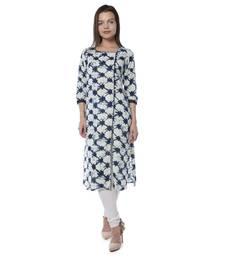 Dark blue printed cotton stithced kurtas-and-kurtis