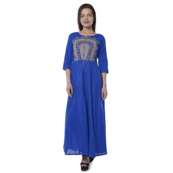 Blue embroidered cotton stithced kurtas-and-kurtis