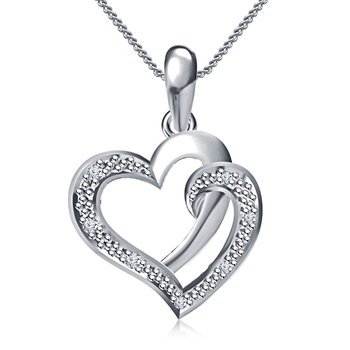 "valentine gifts for girlfriend Heart Design Pendant in Sterling Silver 925 Platinum Plated With 18"" Chain"