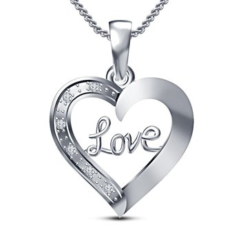 Valentine Special Gift Platinum Plated 925 Sterling Silver RD Cut White CZ Love Heart Pendant With Chain