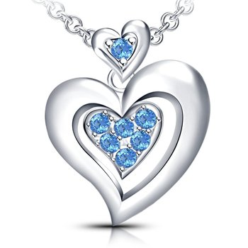 "925 Sterling Silver Aquamarine CZ Ravishing Double Heart Pendant With 18"" Chain"