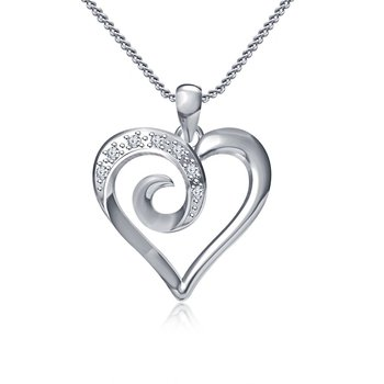 925 Sterling Silver Round Cut White Cubic Zirconia Women's Heart Pendant With Chain