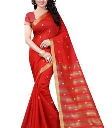 Buy Red plain cotton saree with blouse cotton-saree online