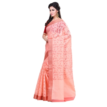 Peach woven organza saree with blouse