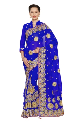 Royal blue embroidered faux georgette saree with blouse