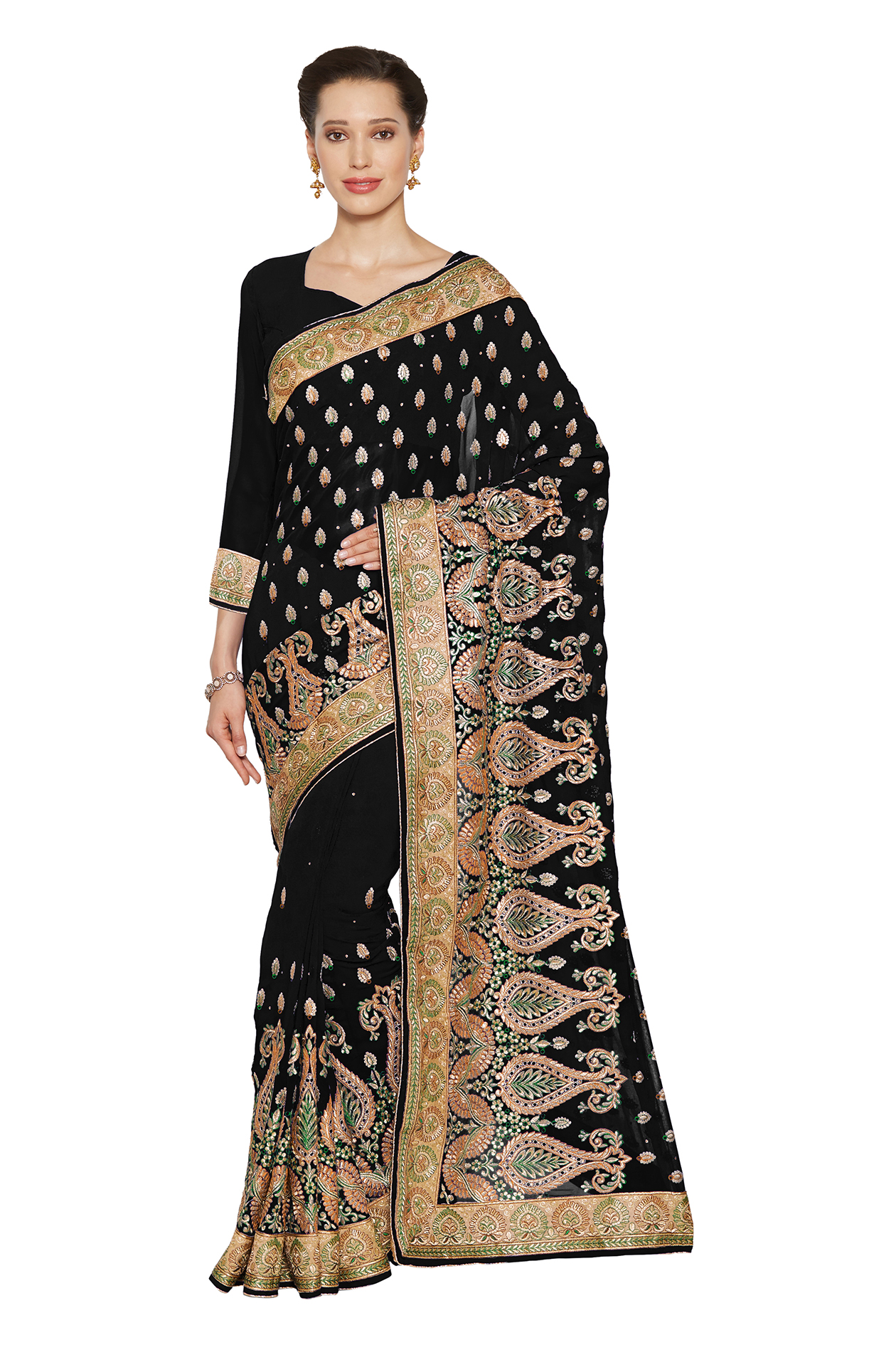 c4fc2b6efbdb18 Black embroidered faux georgette saree with blouse - Mirchi Fashion -  2322307