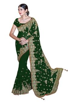 40b236d35bf66 Green embroidered faux georgette saree with blouse