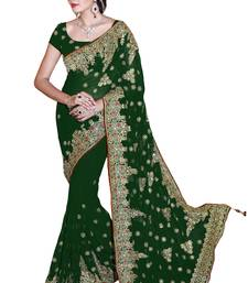 Buy Green embroidered faux georgette saree with blouse great-indian-saree-festival online