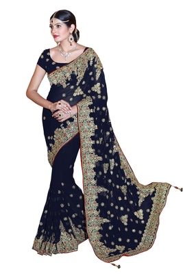 Navy blue embroidered faux georgette saree with blouse
